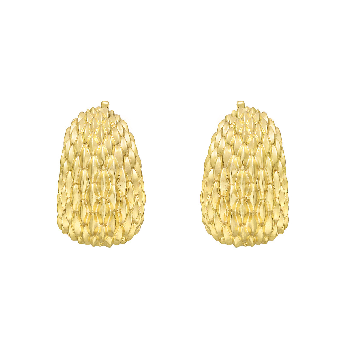 Textured 14k Yellow Gold Earclips