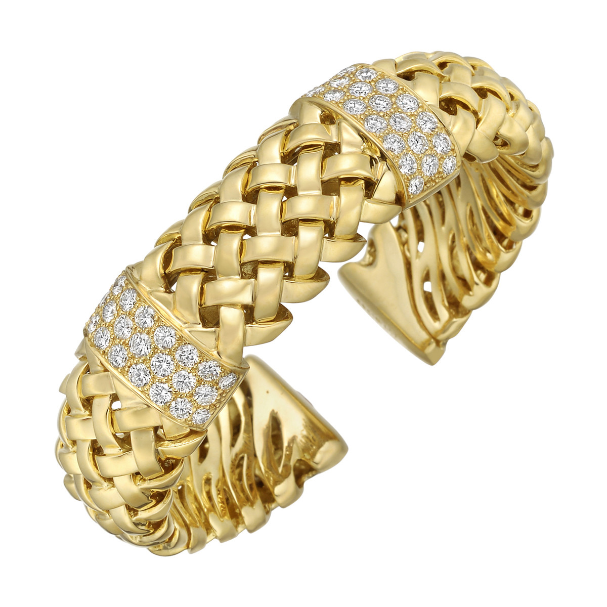 "18k Yellow Gold & Diamond ""Vannerie"" Cuff"