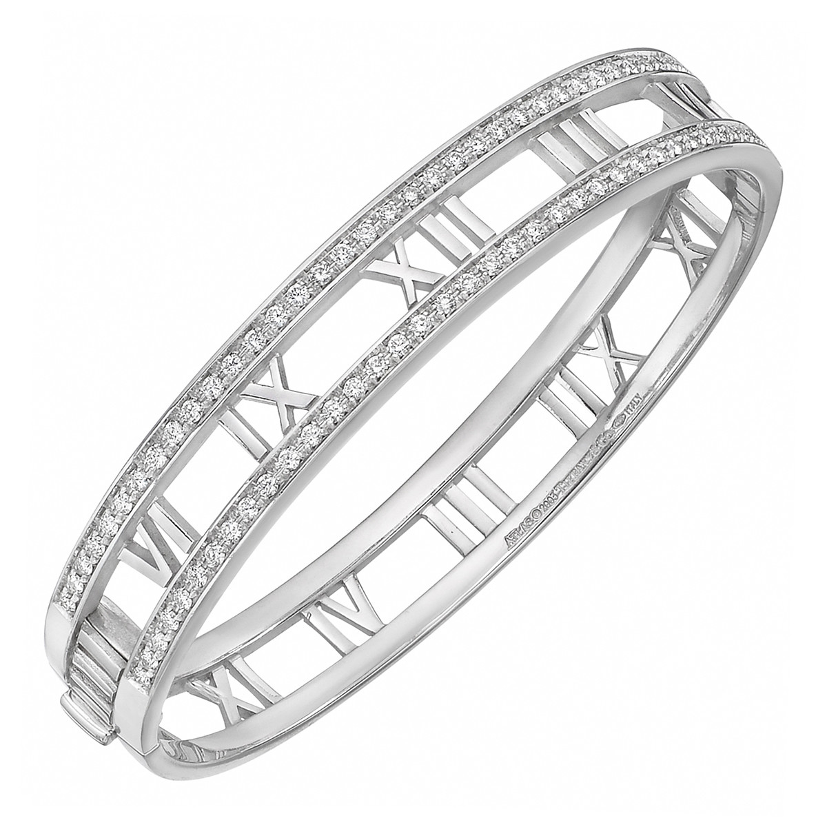 "18k White Gold & Diamond ""Atlas"" Bangle"