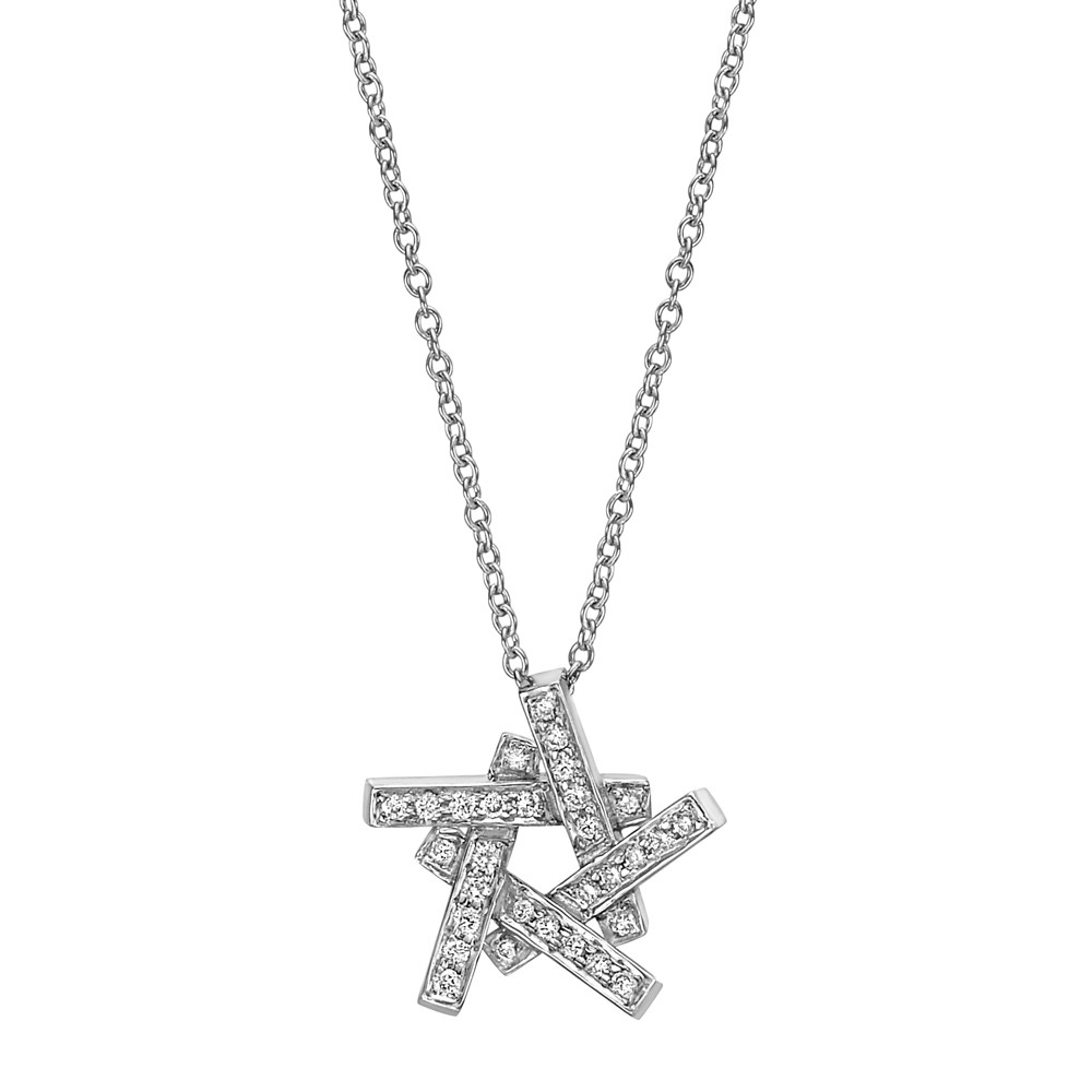 18k White Gold & Diamond Star Pendant Necklace