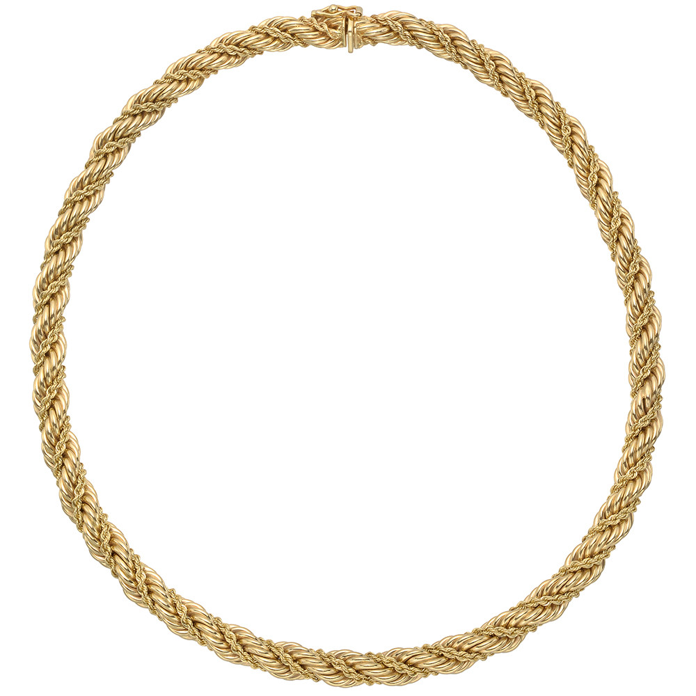14k Yellow Gold Woven Rope-Twist Necklace