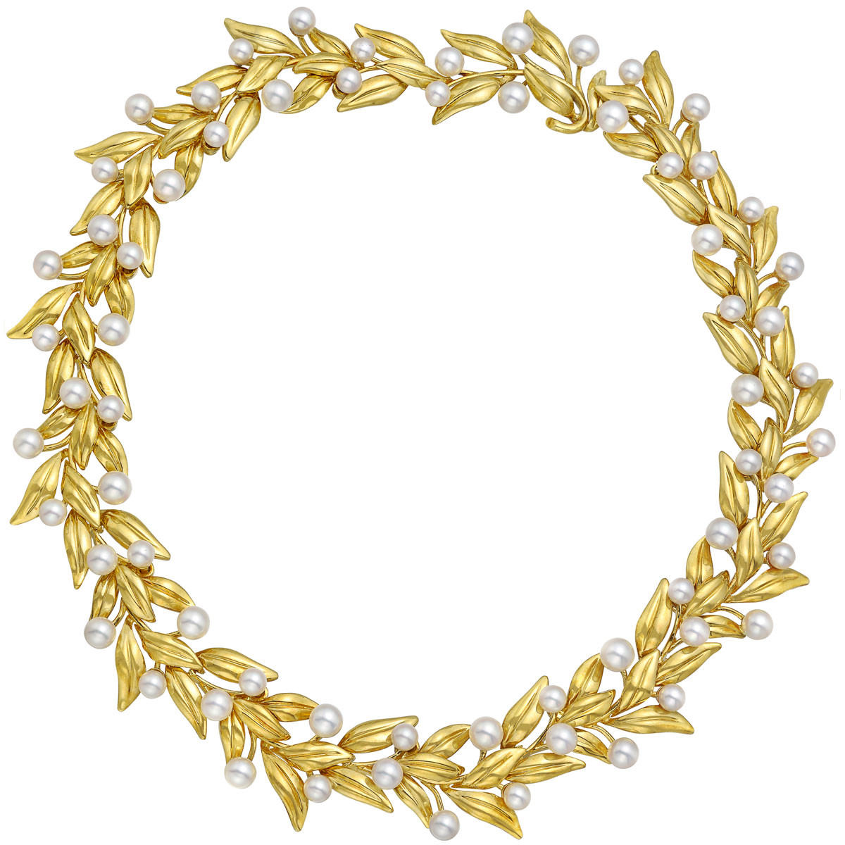 18k Yellow Gold & Pearl Leaf Collar Necklace