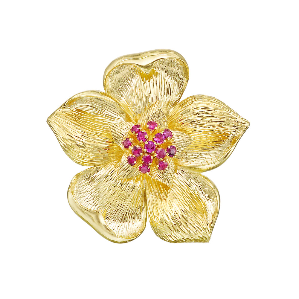 Estate tiffany co 18k gold ruby flower pin betteridge flower pin centering a cluster of circular cut rubies in textured 18k yellow gold numbered 26306 signed tiffany co 16 length and 17 width at mightylinksfo
