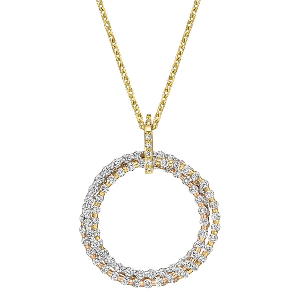 18k Tri-Colored Gold & Diamond Circle Pendant