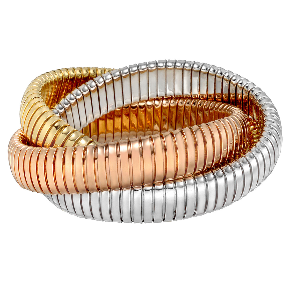 18k Tri-Colored Gold Tubogas Rolling Bangle Bracelet