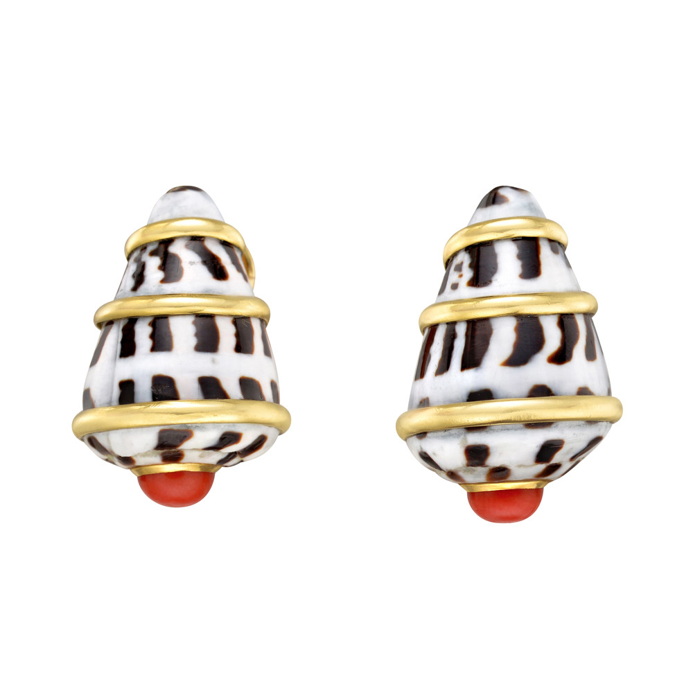 Conus Shell & Red Coral Earclips