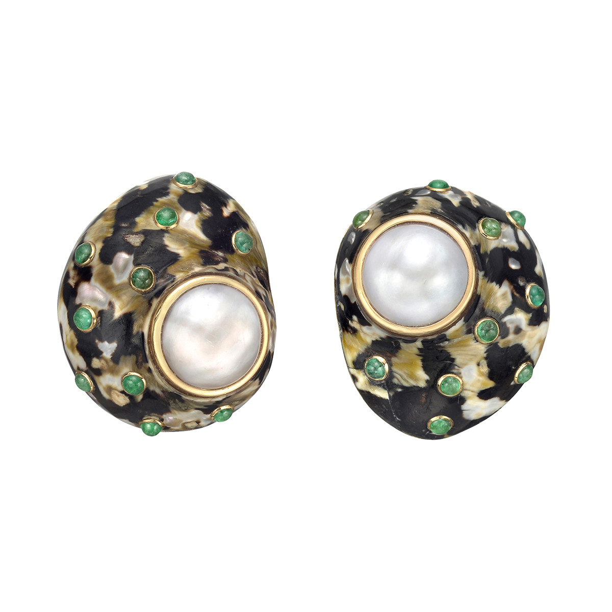 Mottled Shell, Pearl & Emerald Earclips