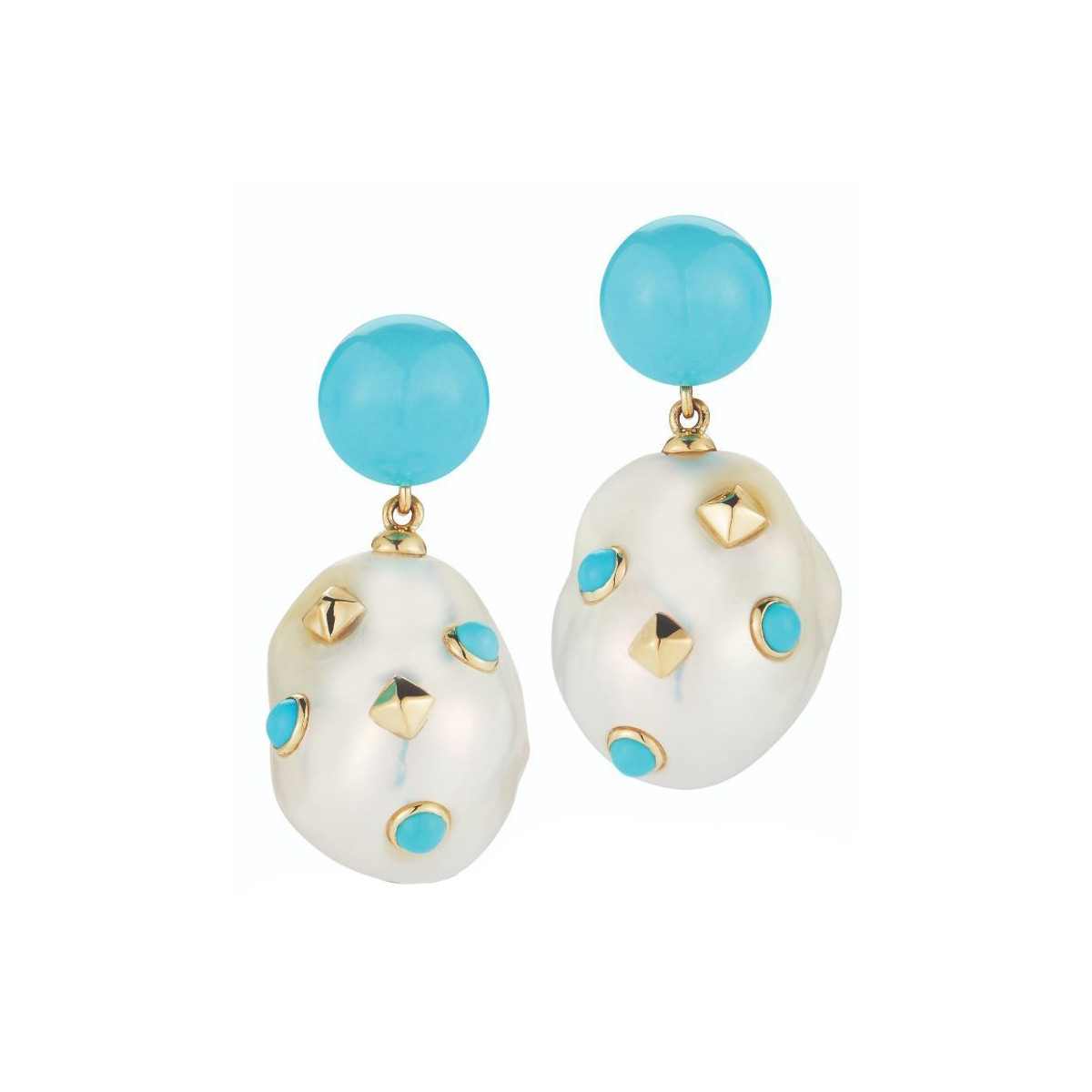 "Turquoise & Pearl ""Lisbon"" Drop Earrings"