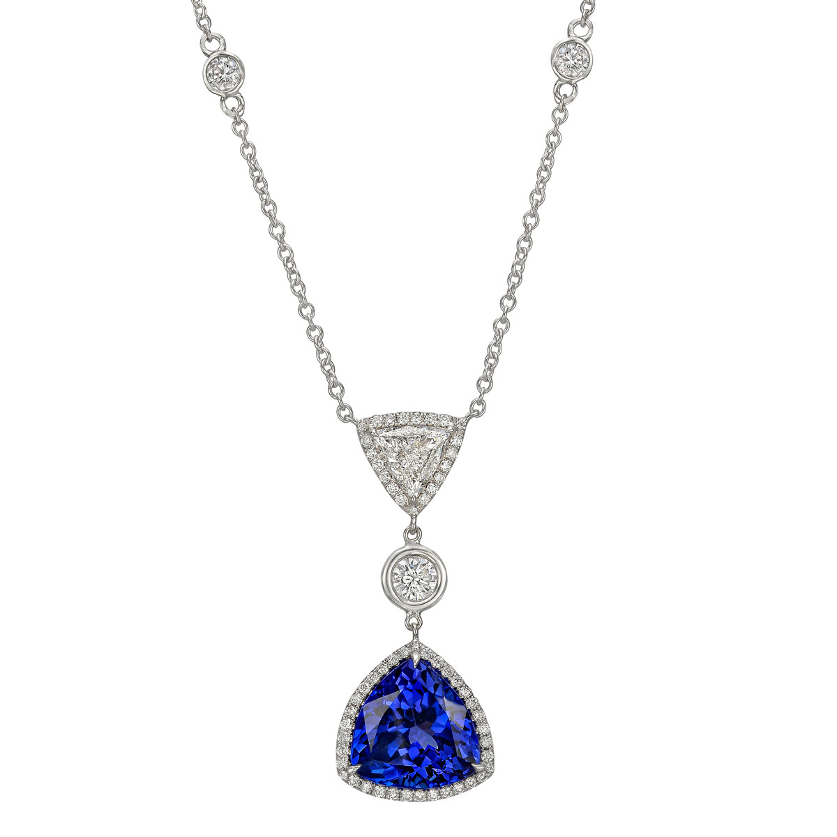 Trillion Tanzanite & Diamond Pendant Necklace
