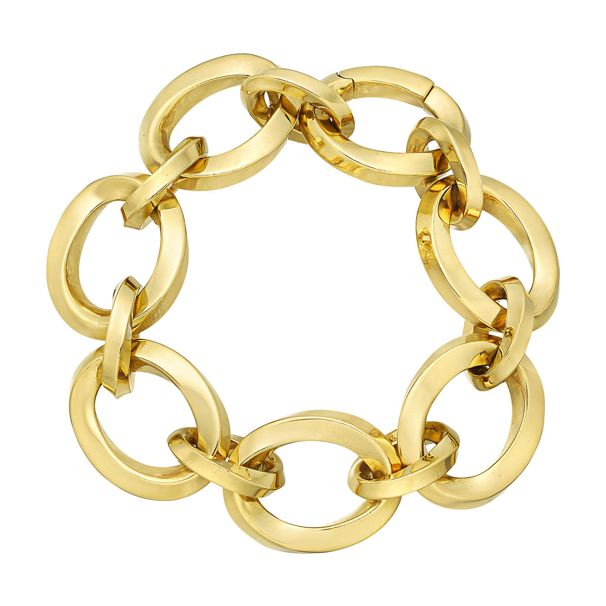 18k Yellow Gold Twisted Oval Link Bracelet