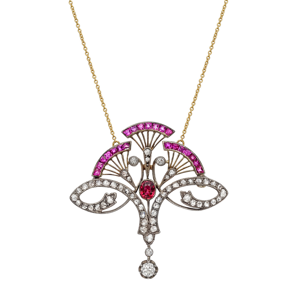 Turn-of-the-Century Diamond & Gem-Set Fan Pendant