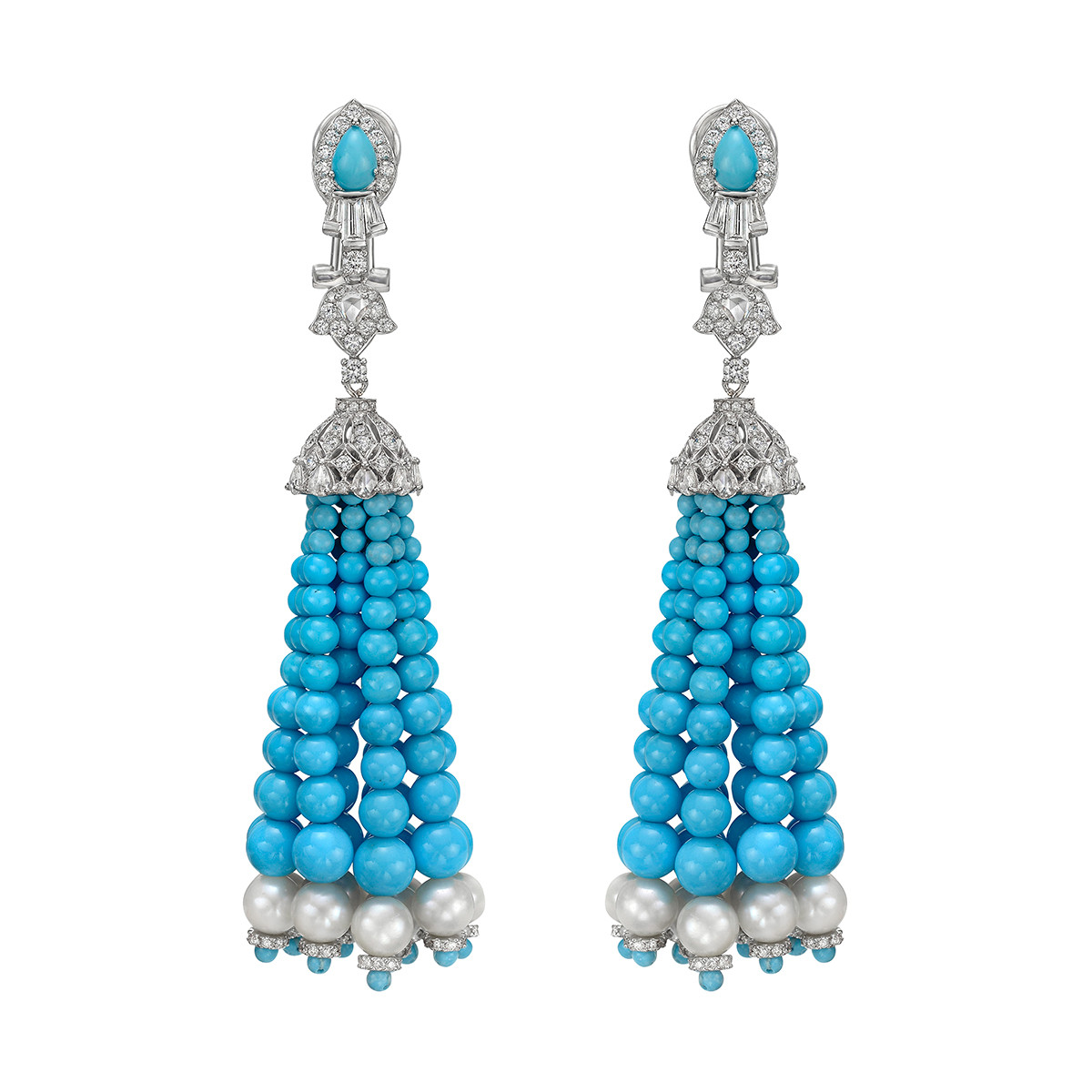 Turquoise, Pearl & Diamond Tassel Earrings