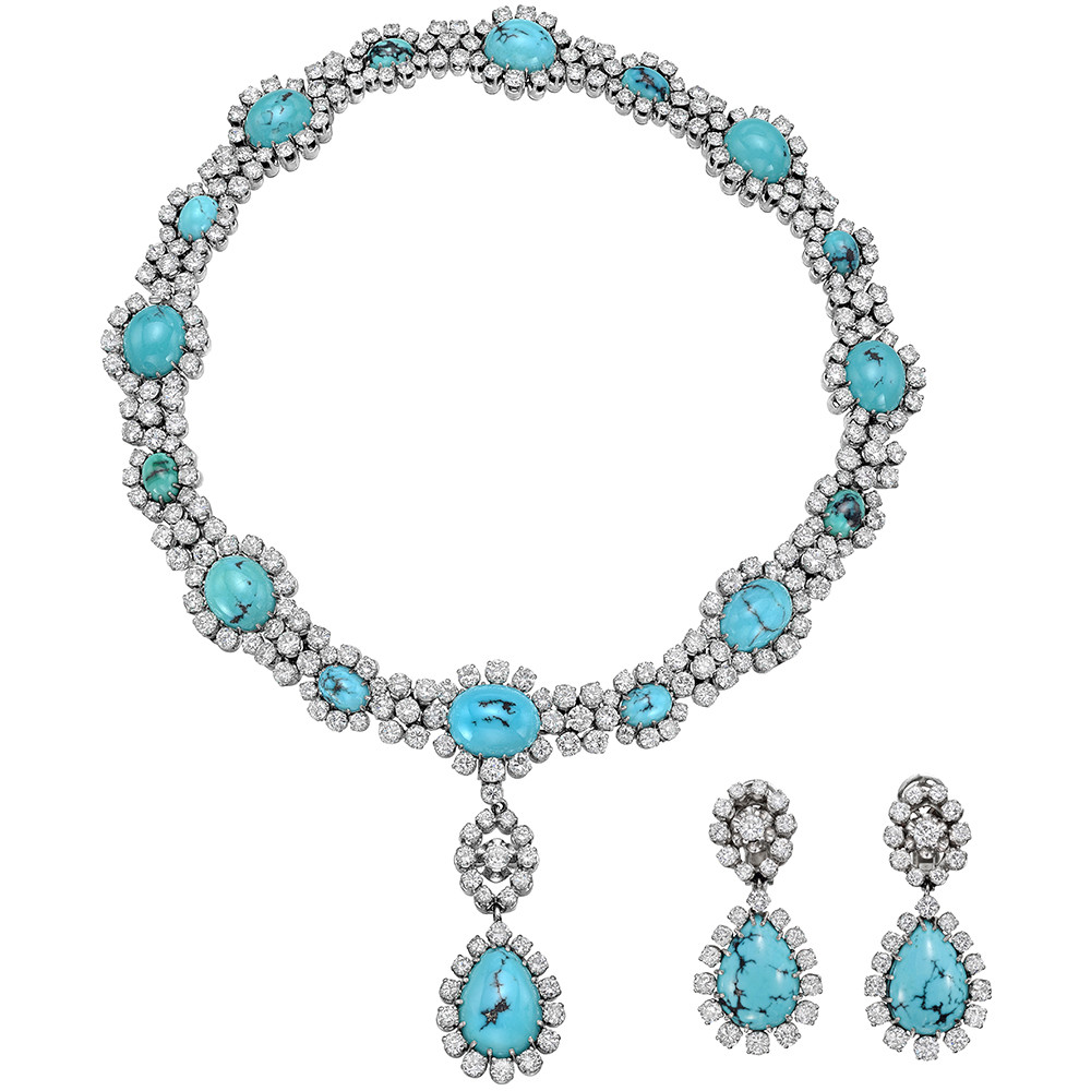 Turquoise Diamond Cluster Drop Necklace With Matching Earrings