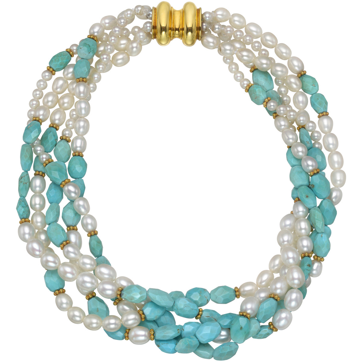 5-Strand Pearl & Turquoise Bead Torsade Necklace