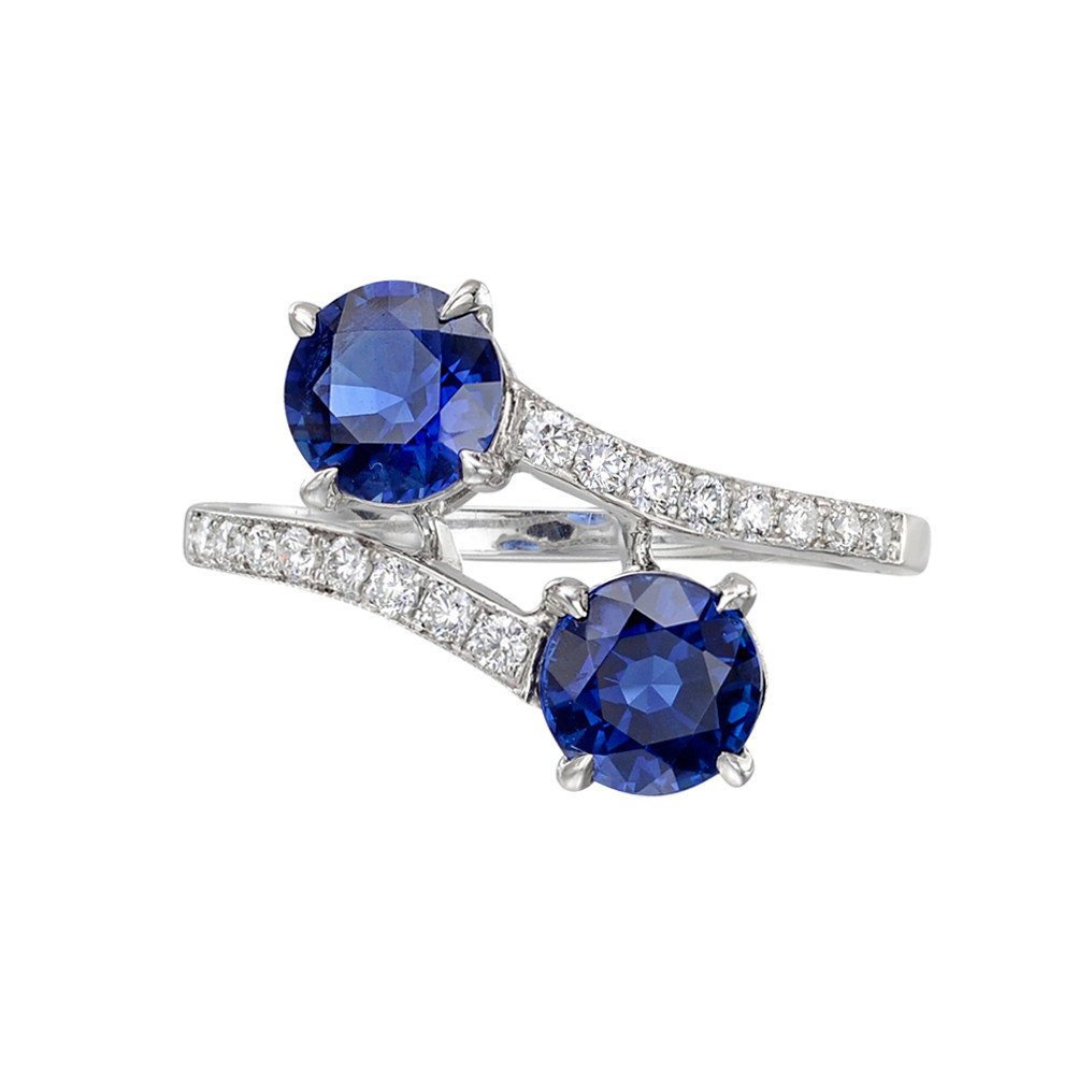 Twin Sapphire & Diamond Crossover Ring