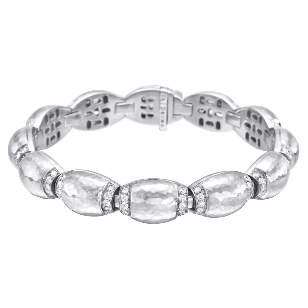 18k White Gold & Diamond Domed Link Bracelet