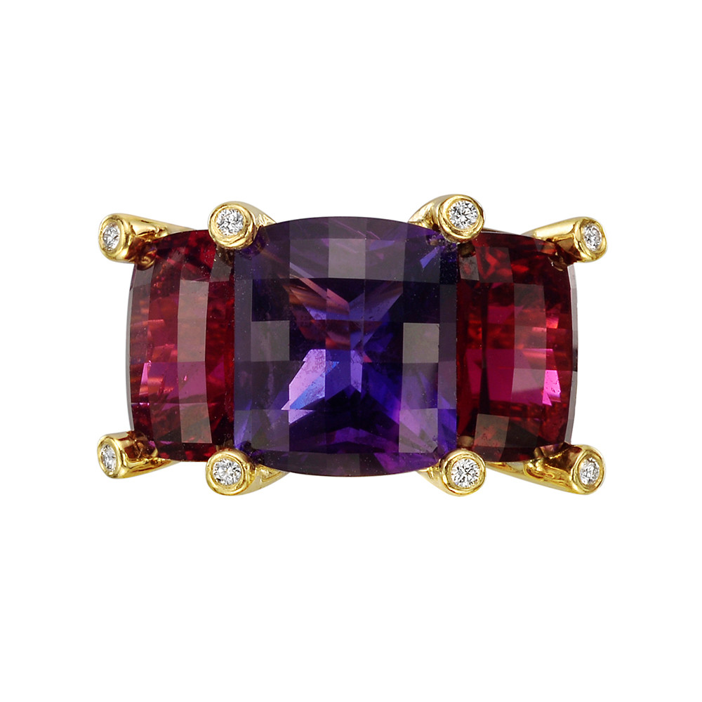 "Amethyst & Rubellite ""Colori"" Three-Stone Ring"