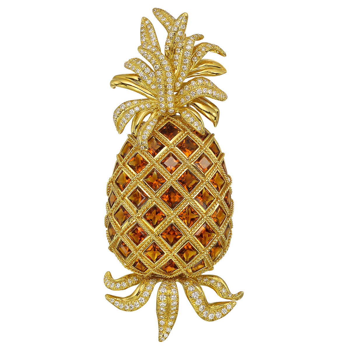 Citrine & Diamond Pineapple Brooch