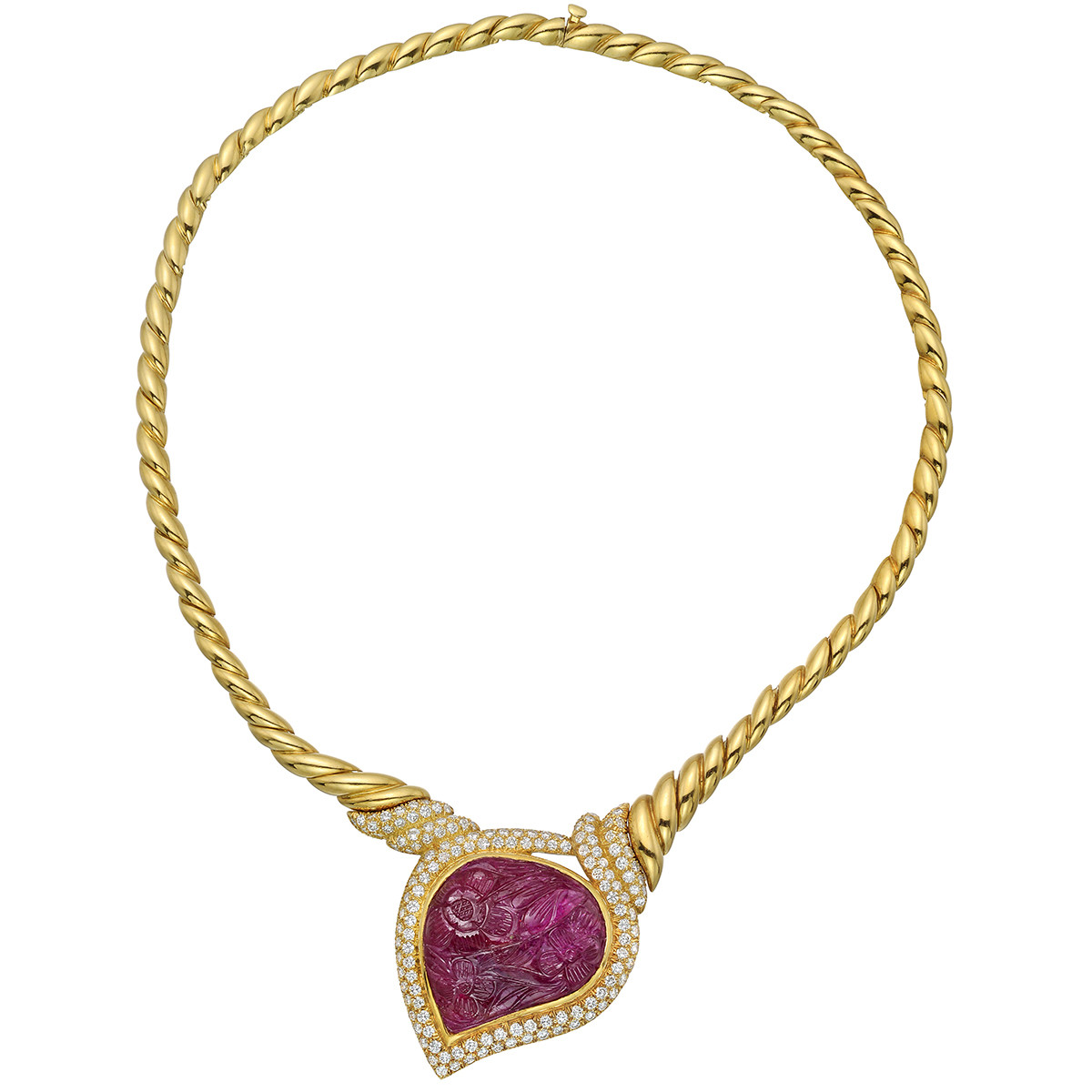 Carved Ruby & Diamond Necklace