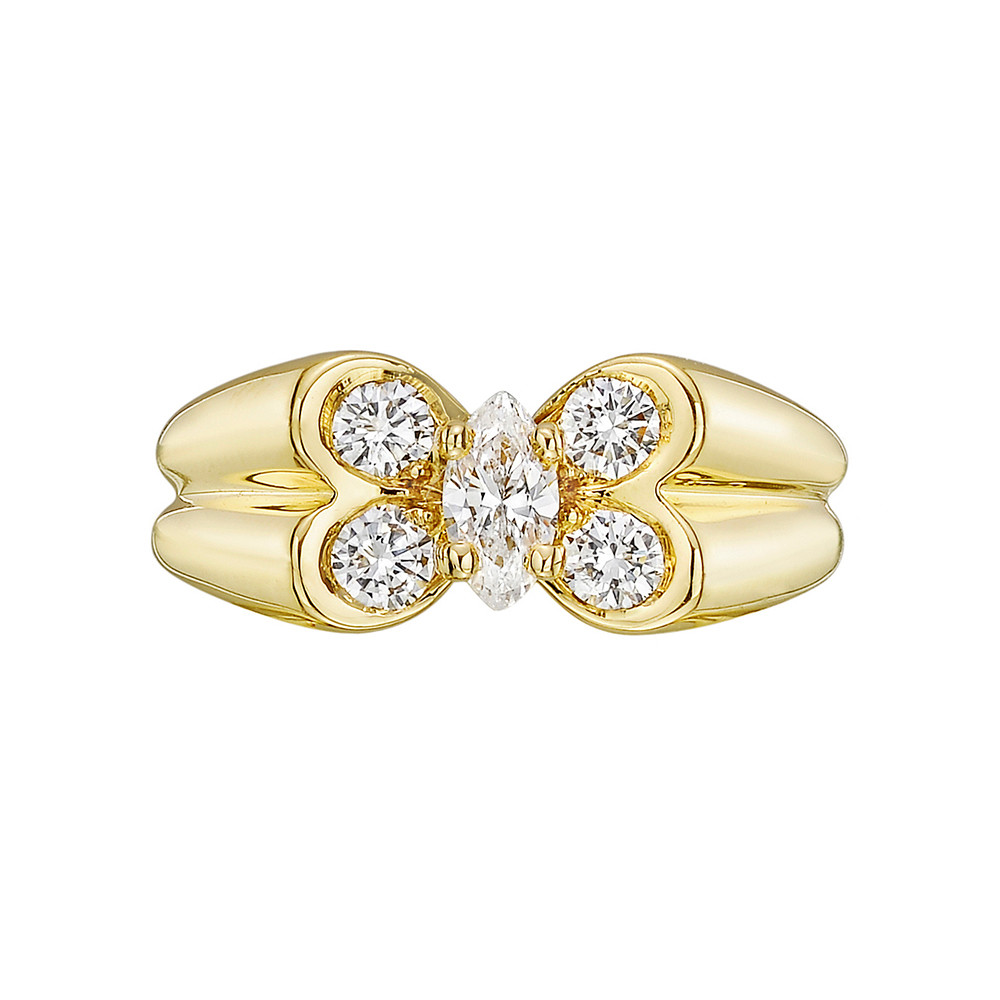 18k Yellow Gold & Diamond Butterfly Ring