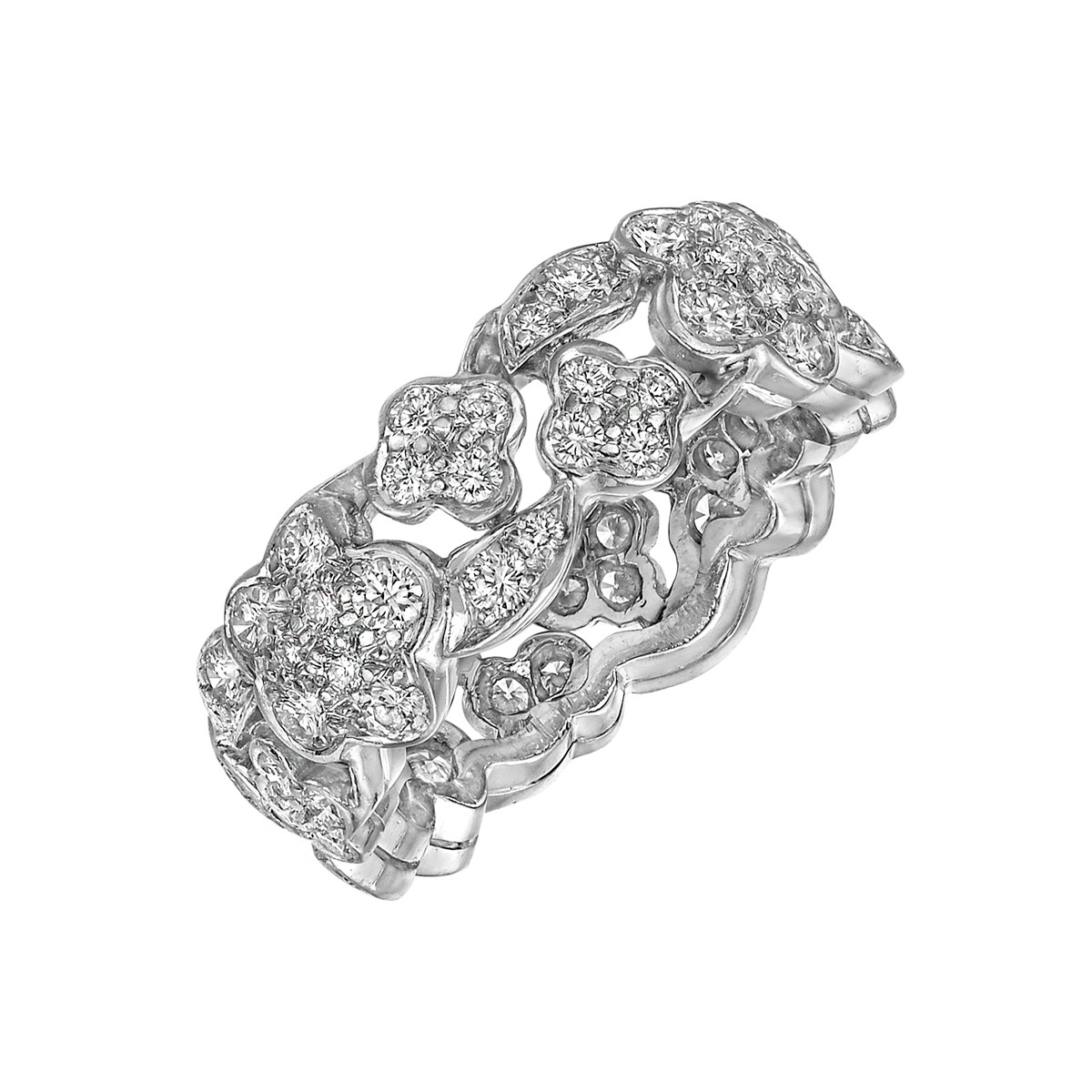 Diamond Flower & Leaf Band Ring