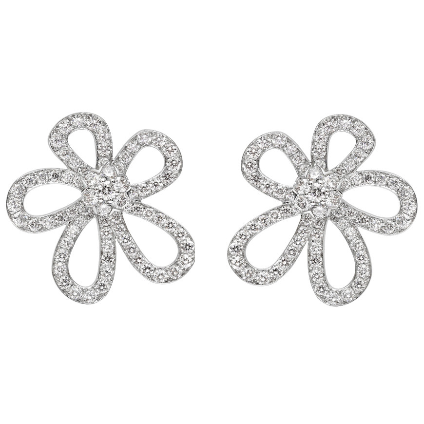 "Large 18k White Gold & Diamond ""Flowerlace"" Earrings"