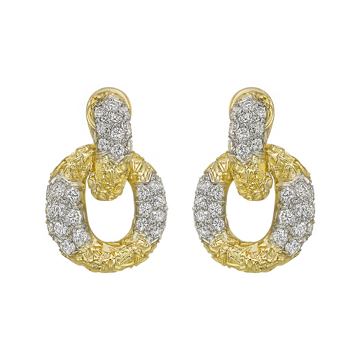 18k Yellow Gold & Diamond Oval Link Drop Earrings