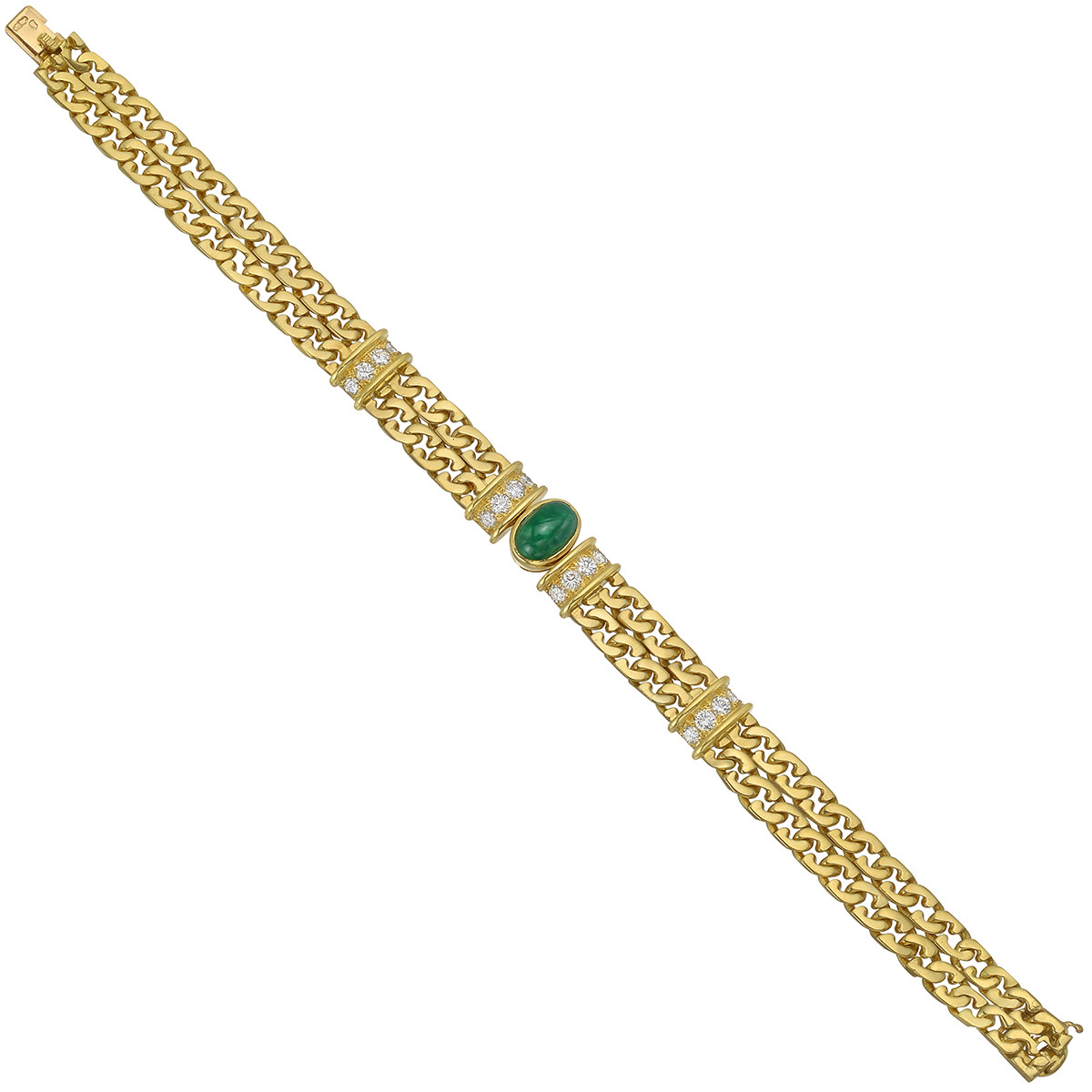 18k Gold, Emerald & Diamond Double Chain Bracelet