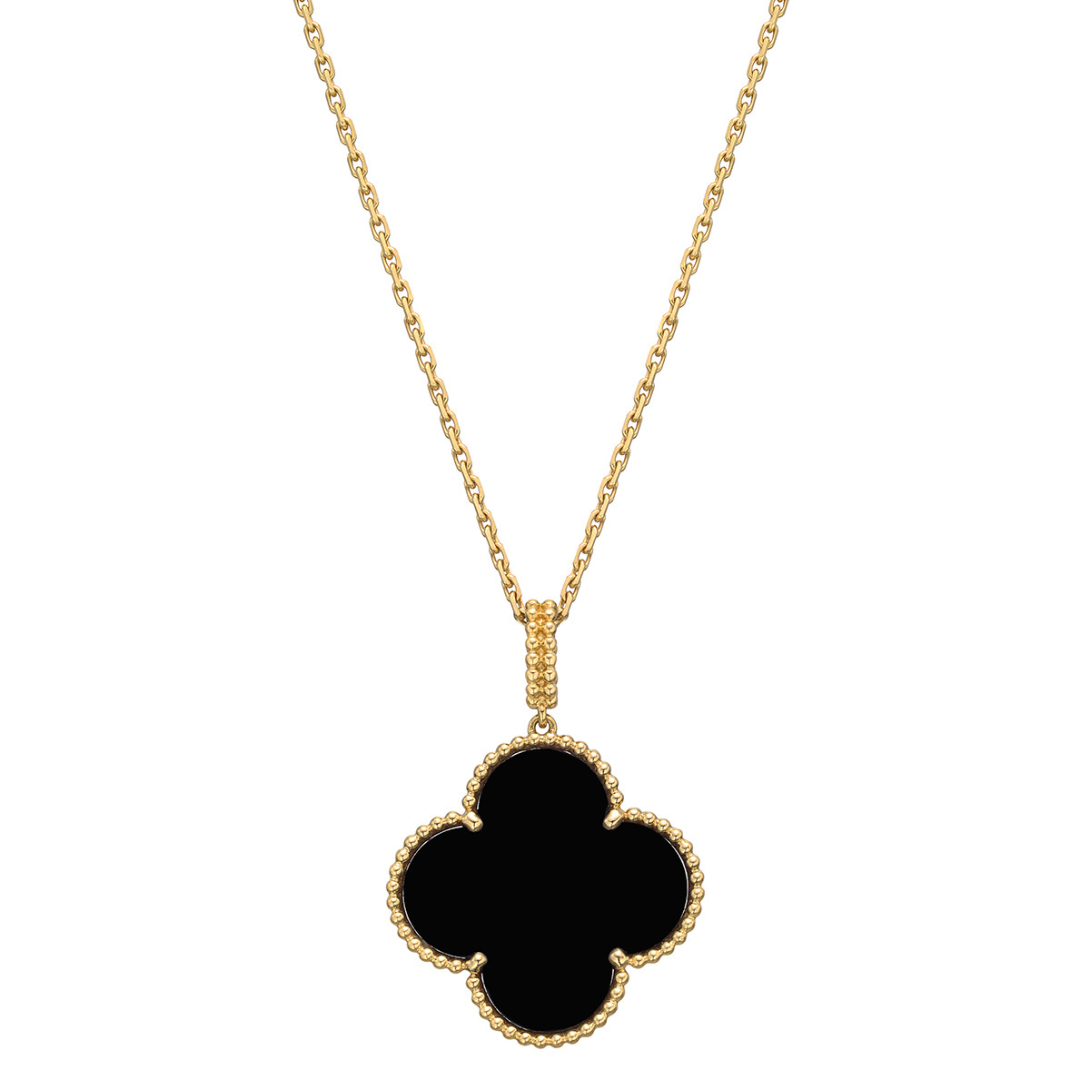 Van cleef arpels black onyx magic alhambra long pendant betteridge magic alhambra large clover shaped black onyx pendant mounted in a delicately beaded 18k yellow gold frame suspended from a 355 long chain necklace in aloadofball Image collections