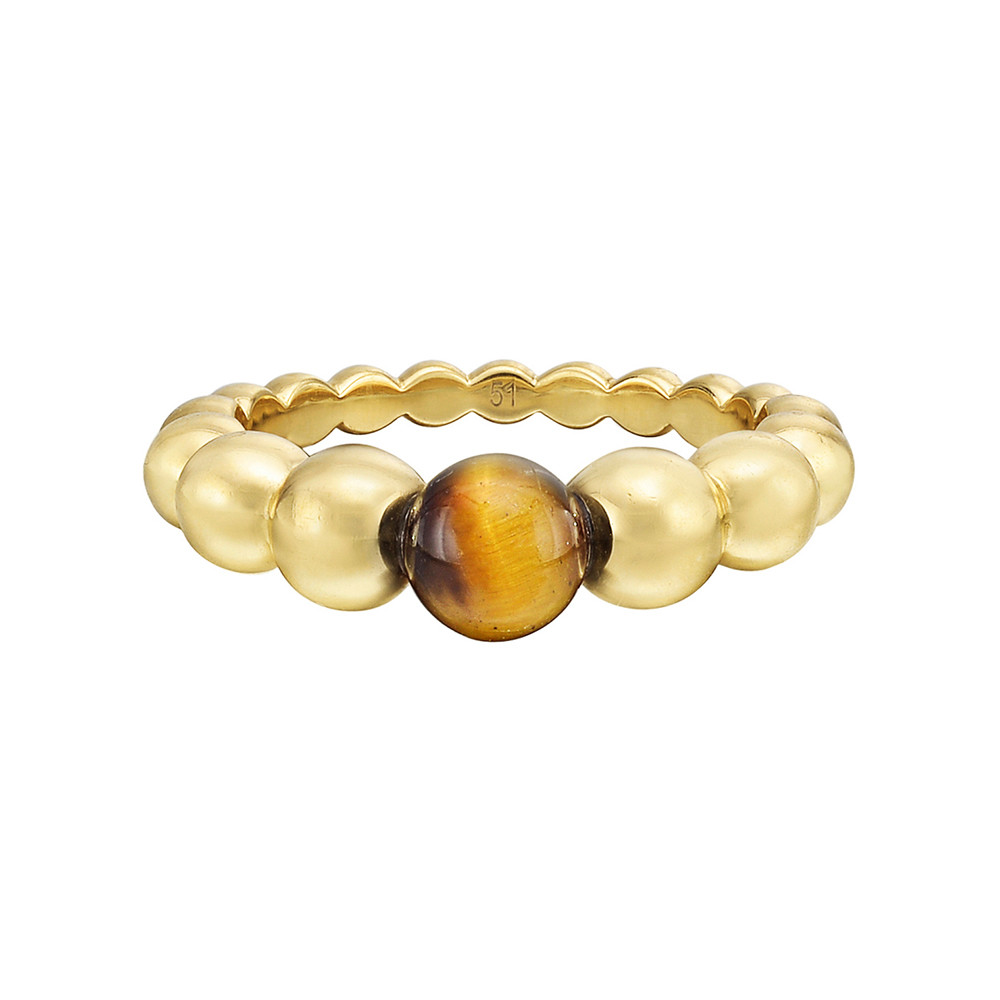 "18k Gold & Tiger's Eye ""Perlée"" Ring"