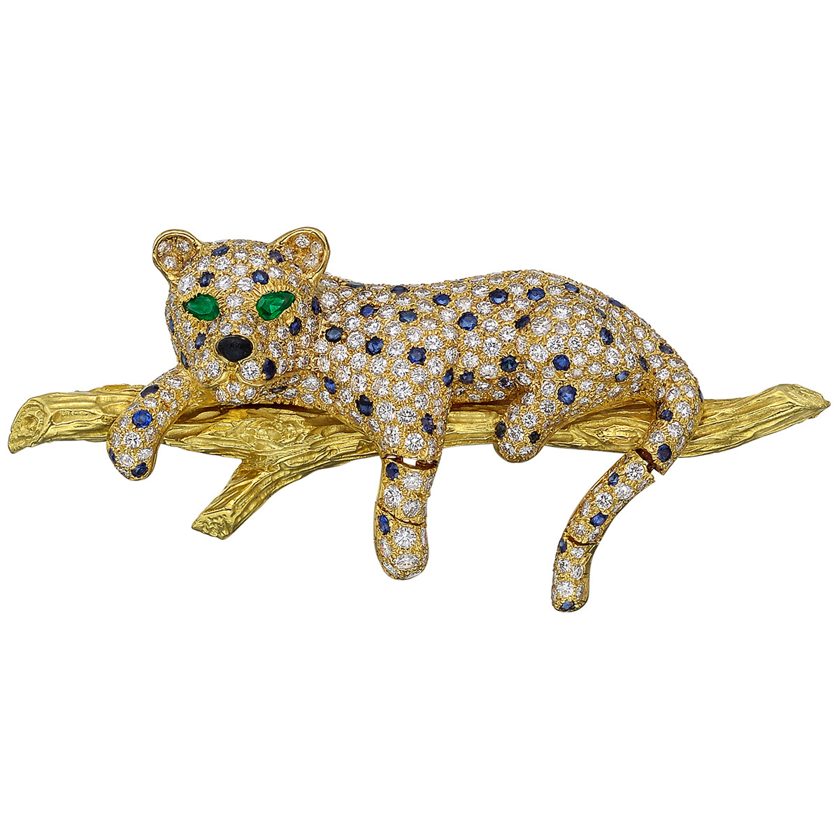 Diamond 'Leopard on Branch' Brooch