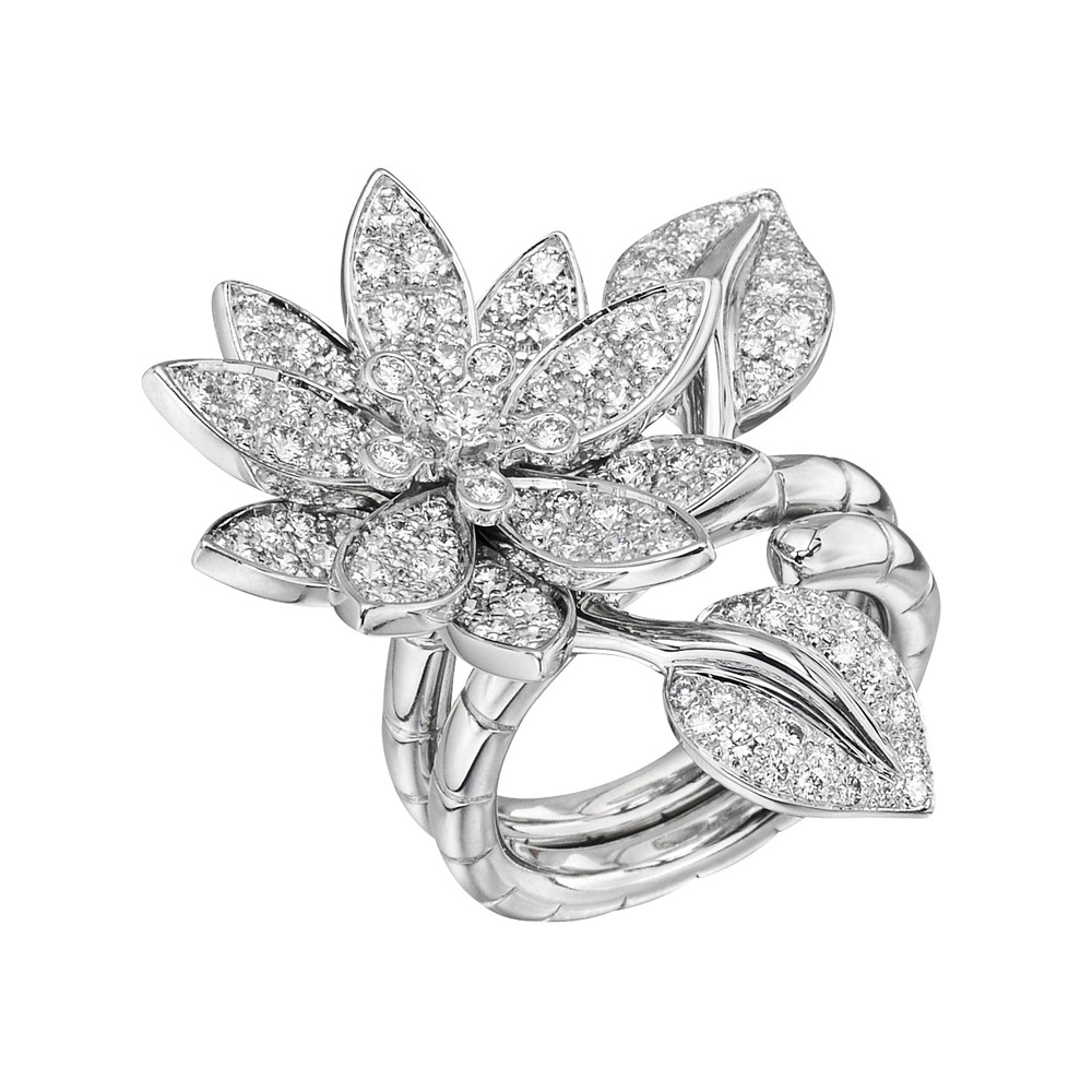 "Diamond ""Lotus"" Between-the-Finger Ring"