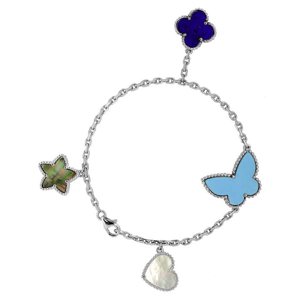 f8dee2ce54c3b Lucky Alhambra bracelet in 18kt white gold with white mother-of-pearl