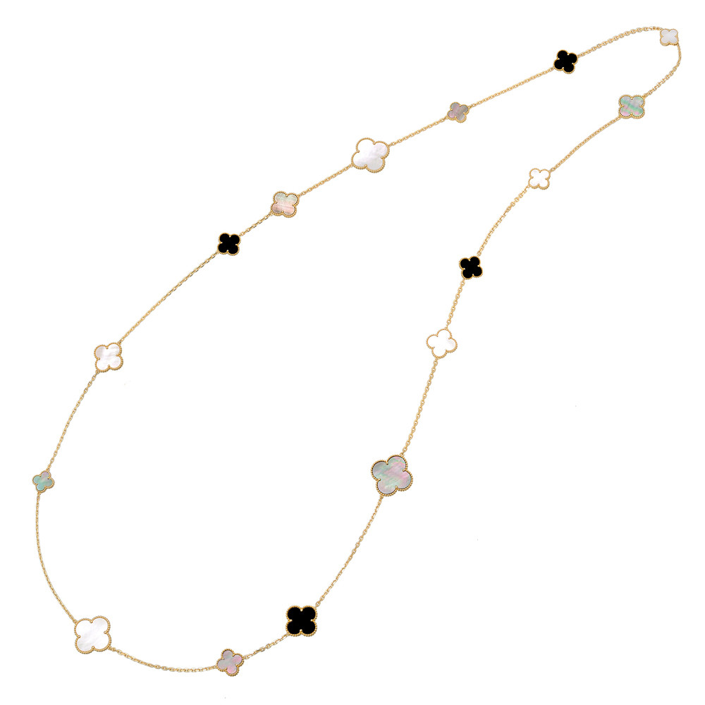 0224705ea4a61 Van Cleef Arpels Mother-of-Pearl Onyx Magic Alhambra Long Necklace ...