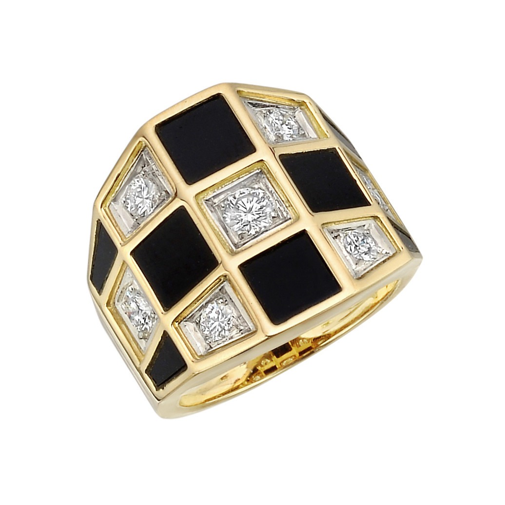"Black Onyx & Diamond ""Checkerboard"" Ring"