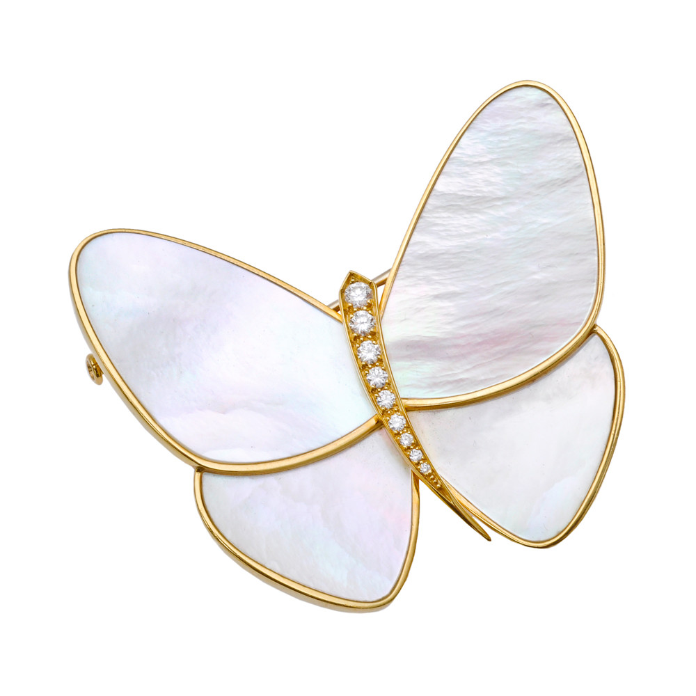 Mother-of-Pearl & Diamond Papillon Clip Pin