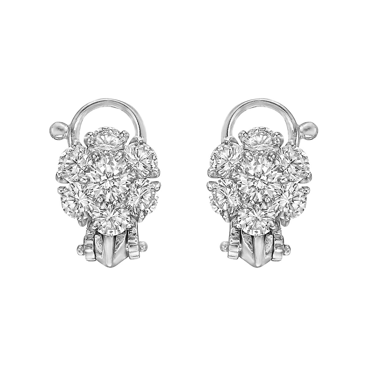 Platinum & Diamond Flower Cluster Earclips