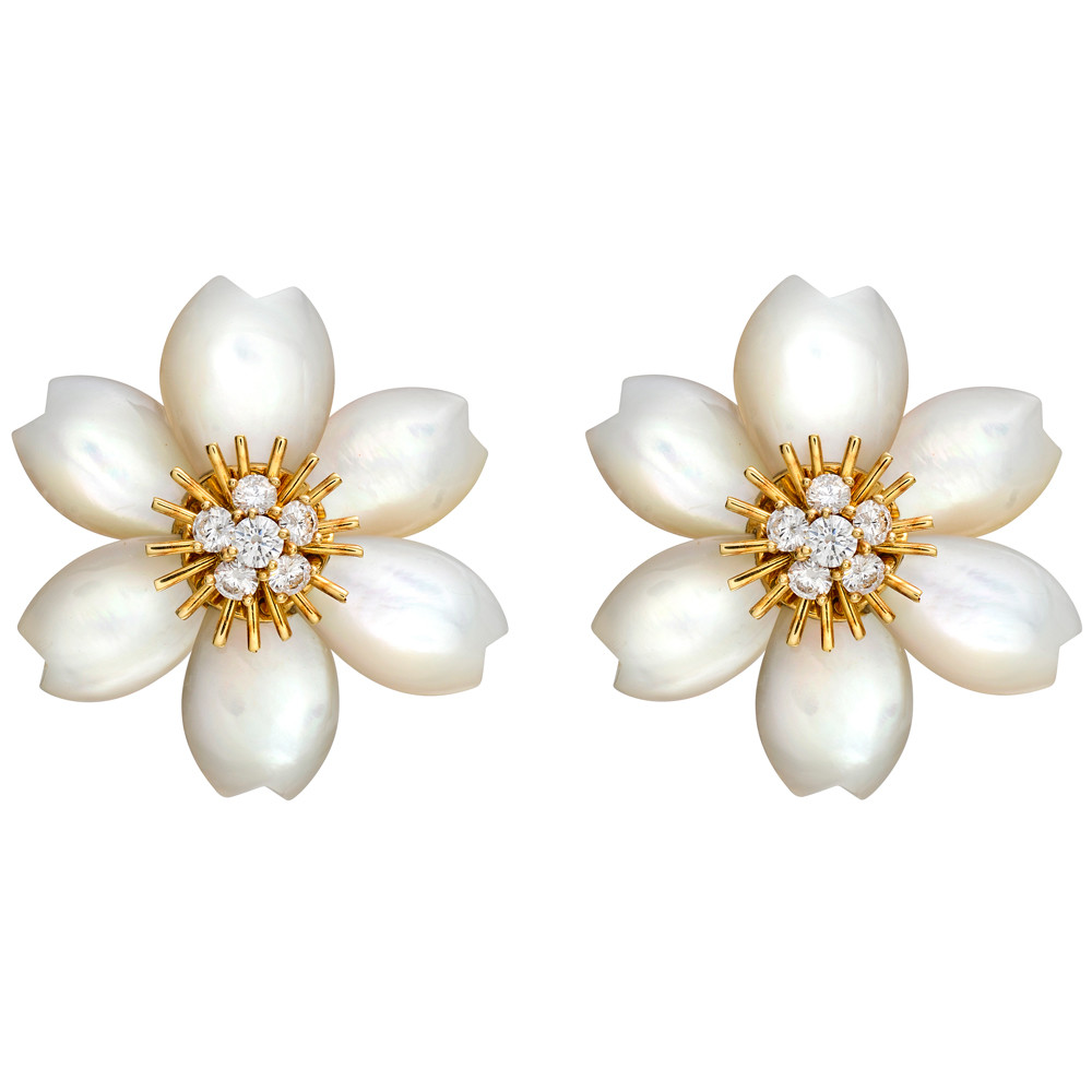 Rose De Noel Flower Earrings Composed Of Carved Mother Pearl Petals Surrounding A Cer Diamonds Set With Twelve Circular Cut