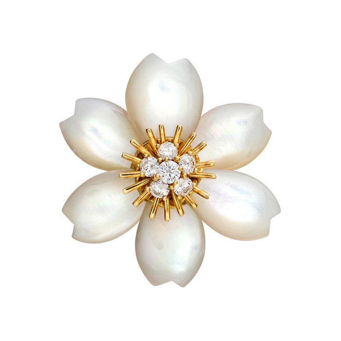 "Mother-of-Pearl & Diamond ""Rose de Noel"" Pin"