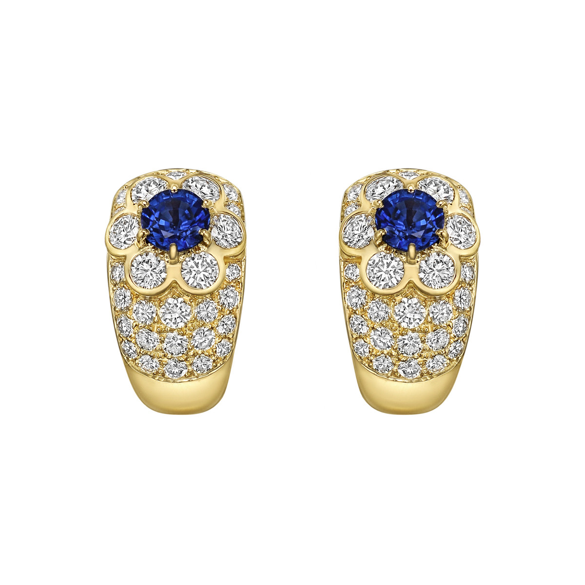 18k Yellow Gold, Sapphire & Diamond Flower Earclips