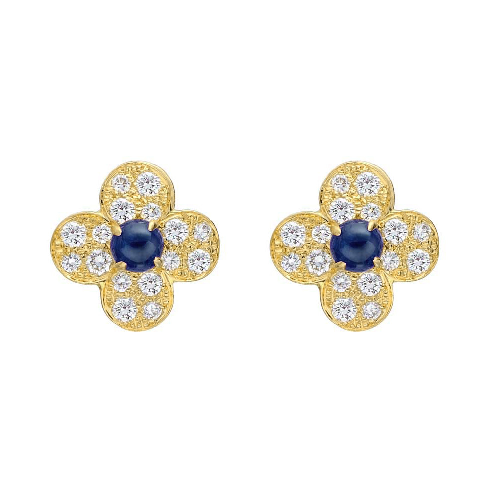"Sapphire & Diamond ""Tréfle"" Earrings"