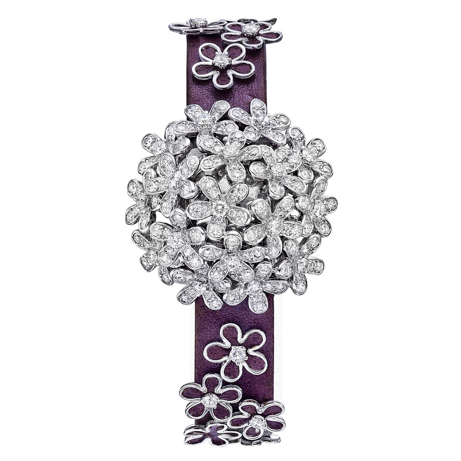 Socrate 18k White Gold & Diamond Bracelet Watch