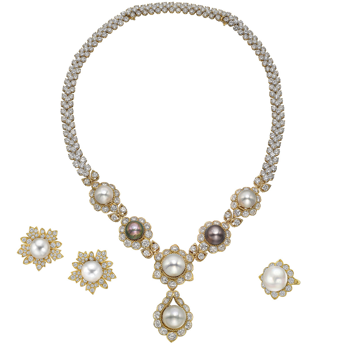 South Sea Pearl & Diamond Jewelry Suite