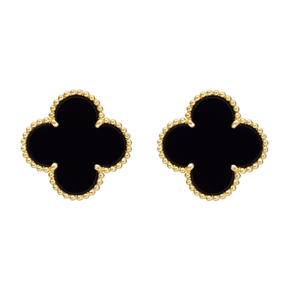 Magic Alhambra Clover Shaped Earrings Designed With Black Onyx Centers Within A Yellow Gold Beaded Frame Mounted In 18k Numbered Jb05454