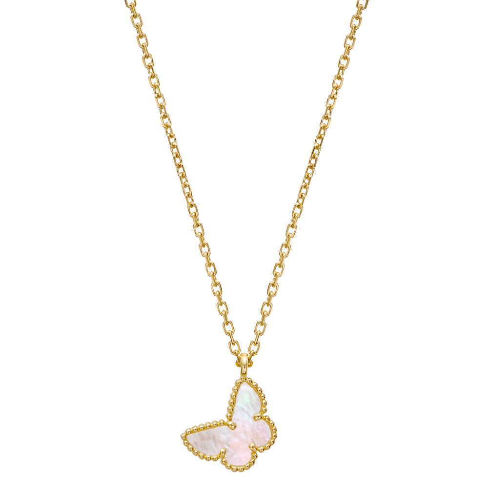 sweet pendant cleef alhambra van arpels gold pink necklace