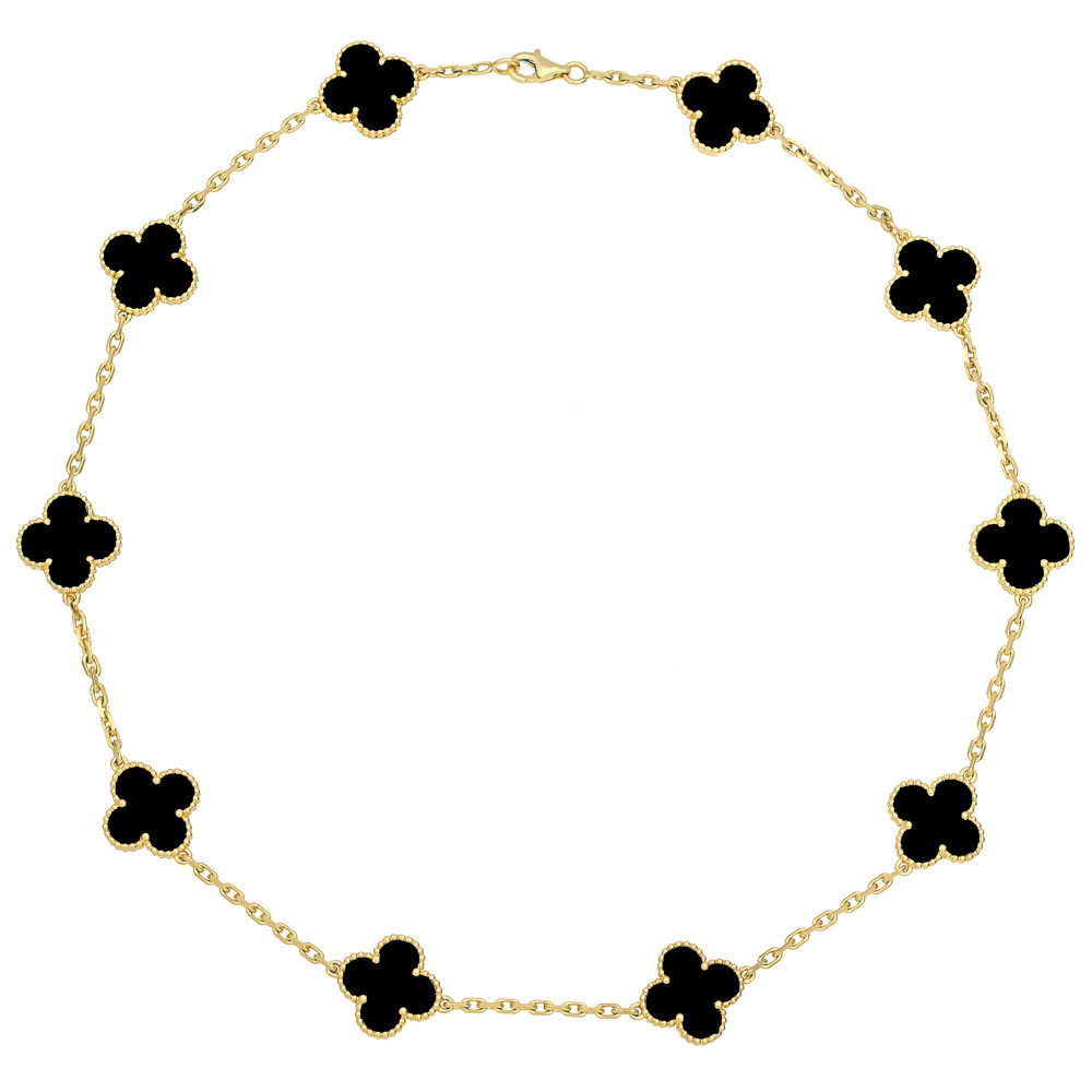 "18k Yellow Gold & Onyx ""Vintage Alhambra"" Necklace"