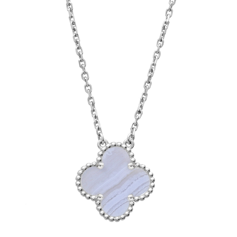 Van cleef arpels white gold chalcedony vintage alhambra vintage alhambra clover shaped pendant designed with a chalcedony center within a white gold beaded frame mounted in 18k white gold on a 165 cable aloadofball Images