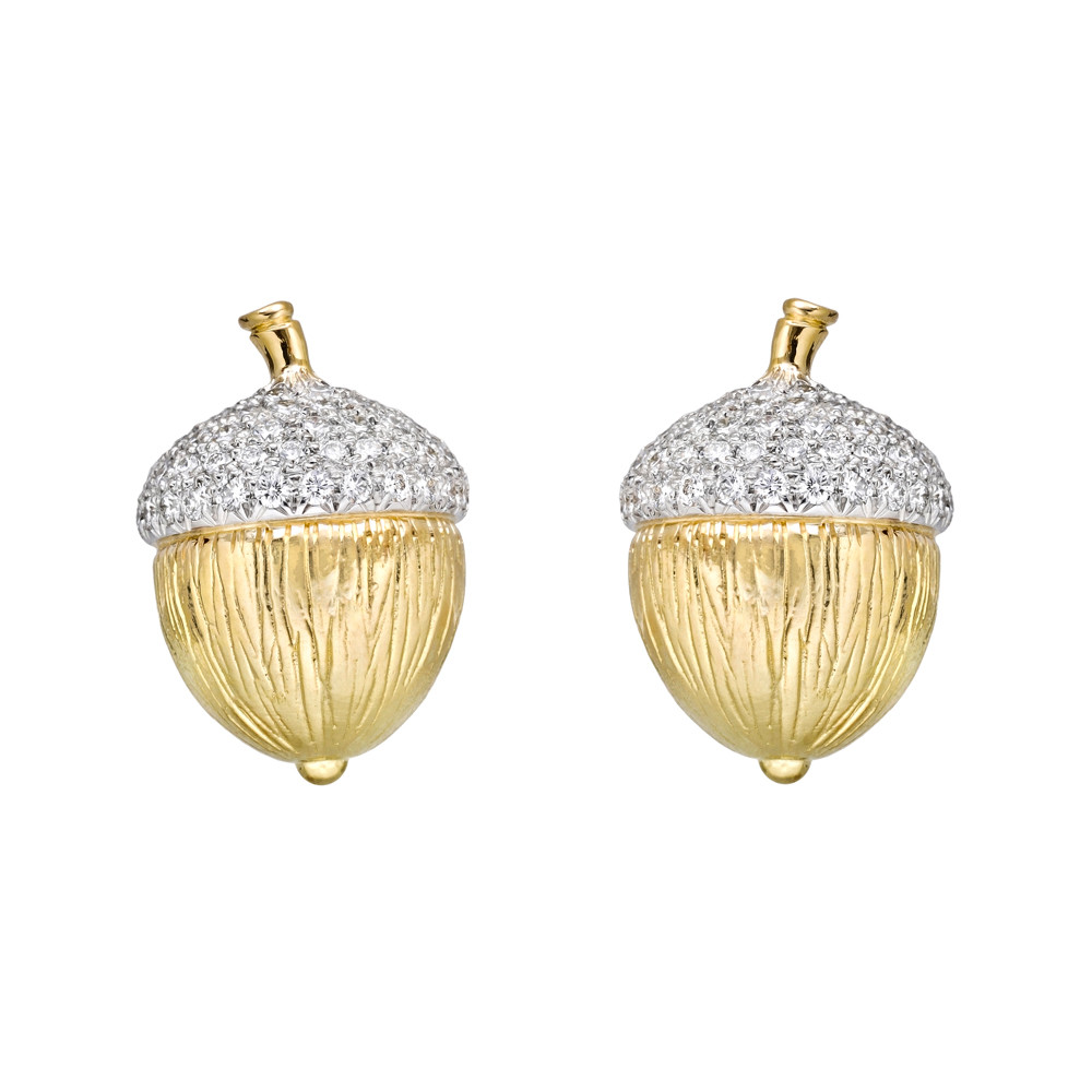 18k Gold, Platinum & Diamond Acorn Earrings