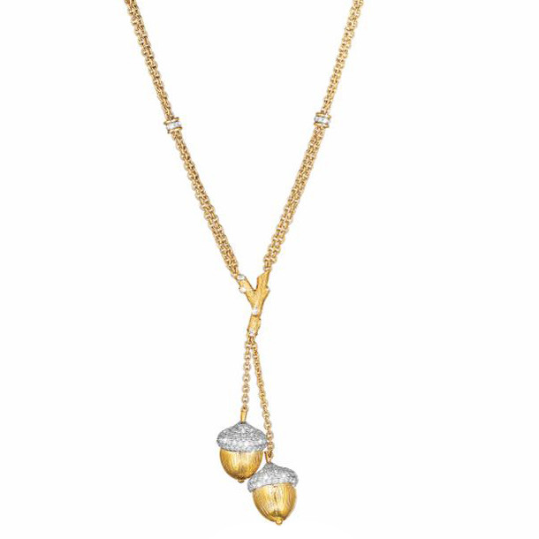 18k Gold, Platinum & Diamond Acorn Lariat