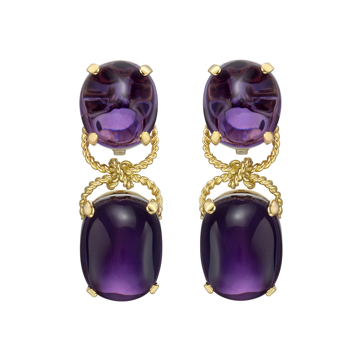"Amethyst ""Pebble"" Pendant Earrings"